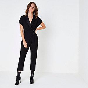 Black short sleeve tuxedo jumpsuit