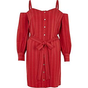 Robe chemise rayée rouge à épaules dénudées