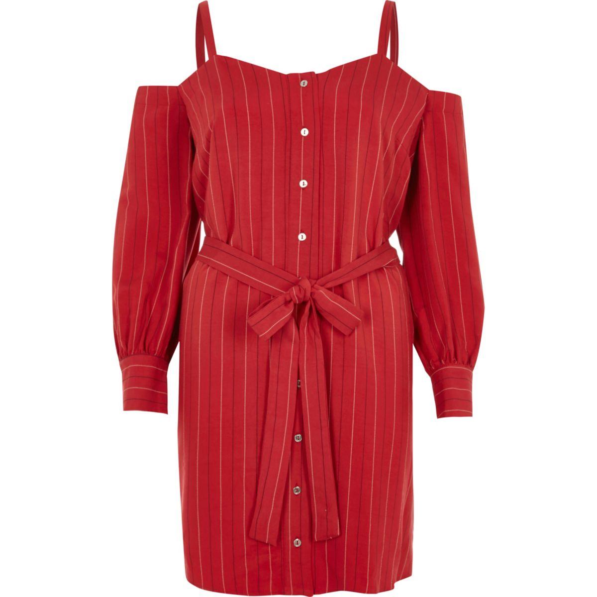 Red stripe cold shoulder shirt dress
