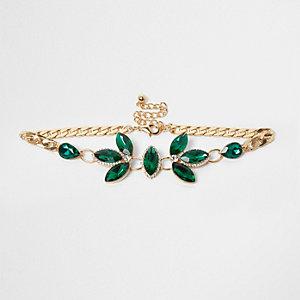 Emerald green gem embellished choker
