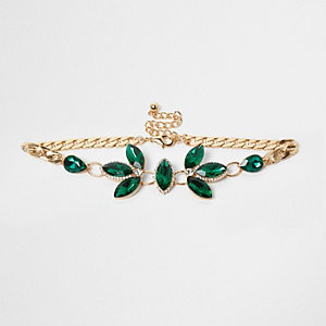 Collier ras-de-cou orné de pierres vert émeraude