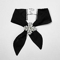 Black jewel embellished tie choker