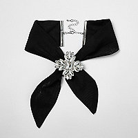 Black jewel embellished tie choker