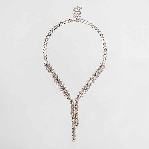 Rose gold tone cup chain necklace