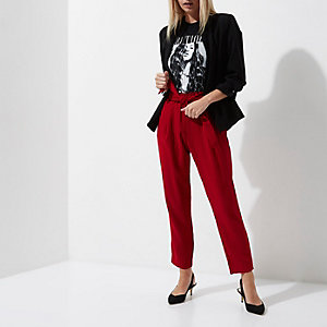 Petite dark red tie waist tailored trousers