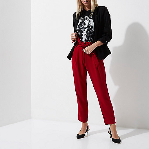Petite dark red tie waist tailored pants