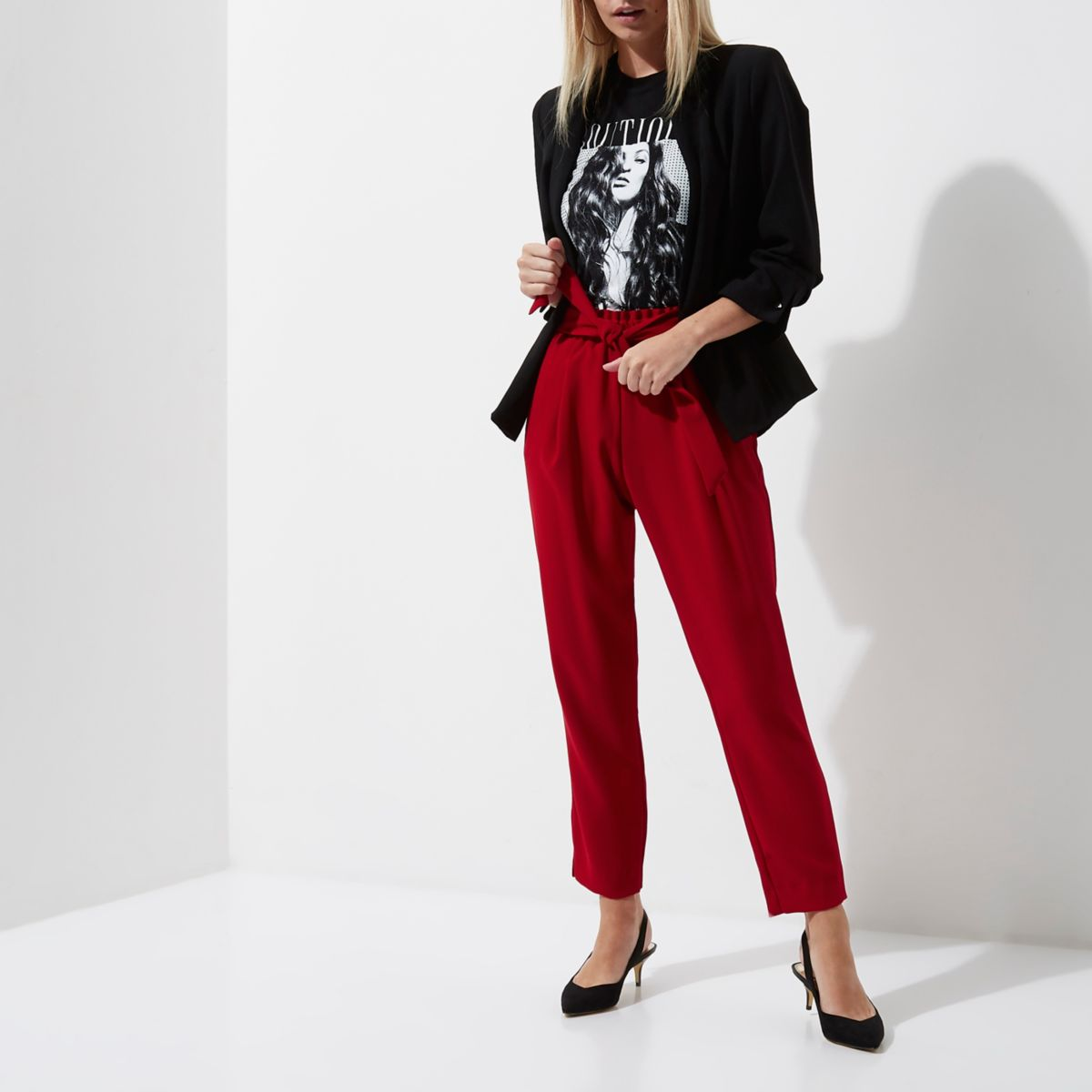 Petite dark red tie waist tailored trousers