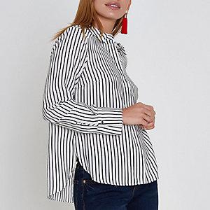 Petite – Chemise rayée blanche avec nœud dans le dos