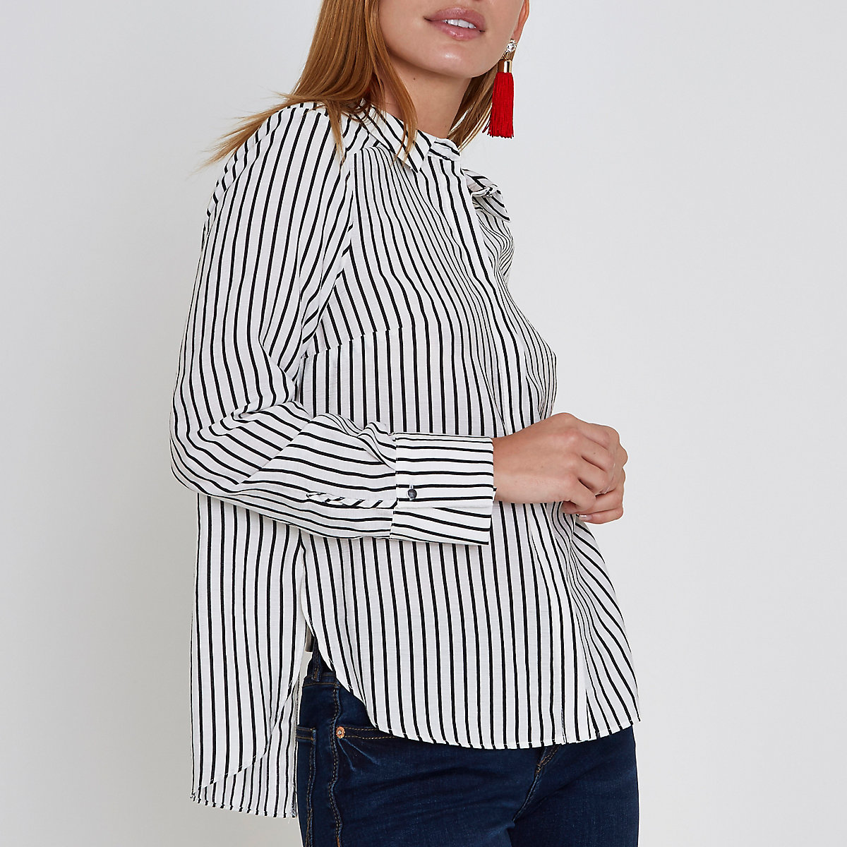 Petite white stripe bow back shirt