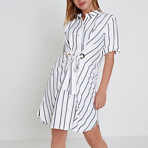 Petite white stripe eyelet tie shirt dress