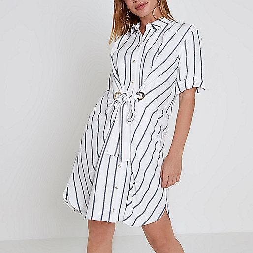 Petite white stripe eyelet tie shirt dress