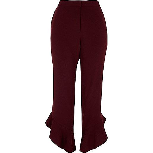 Dark red frill hem cropped pants