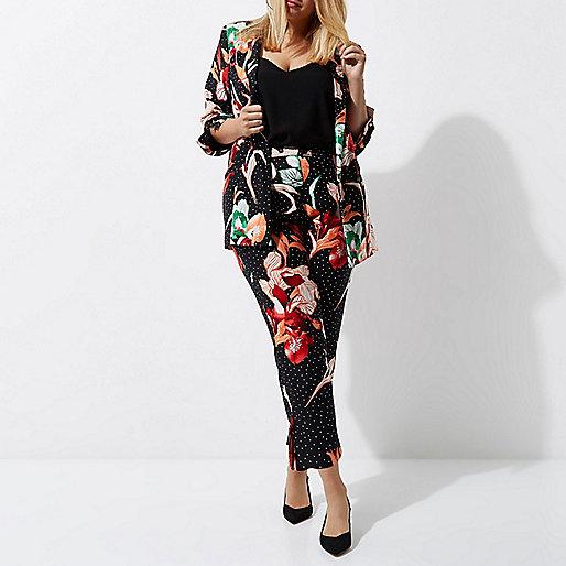 Plus black floral print tapered leg pants