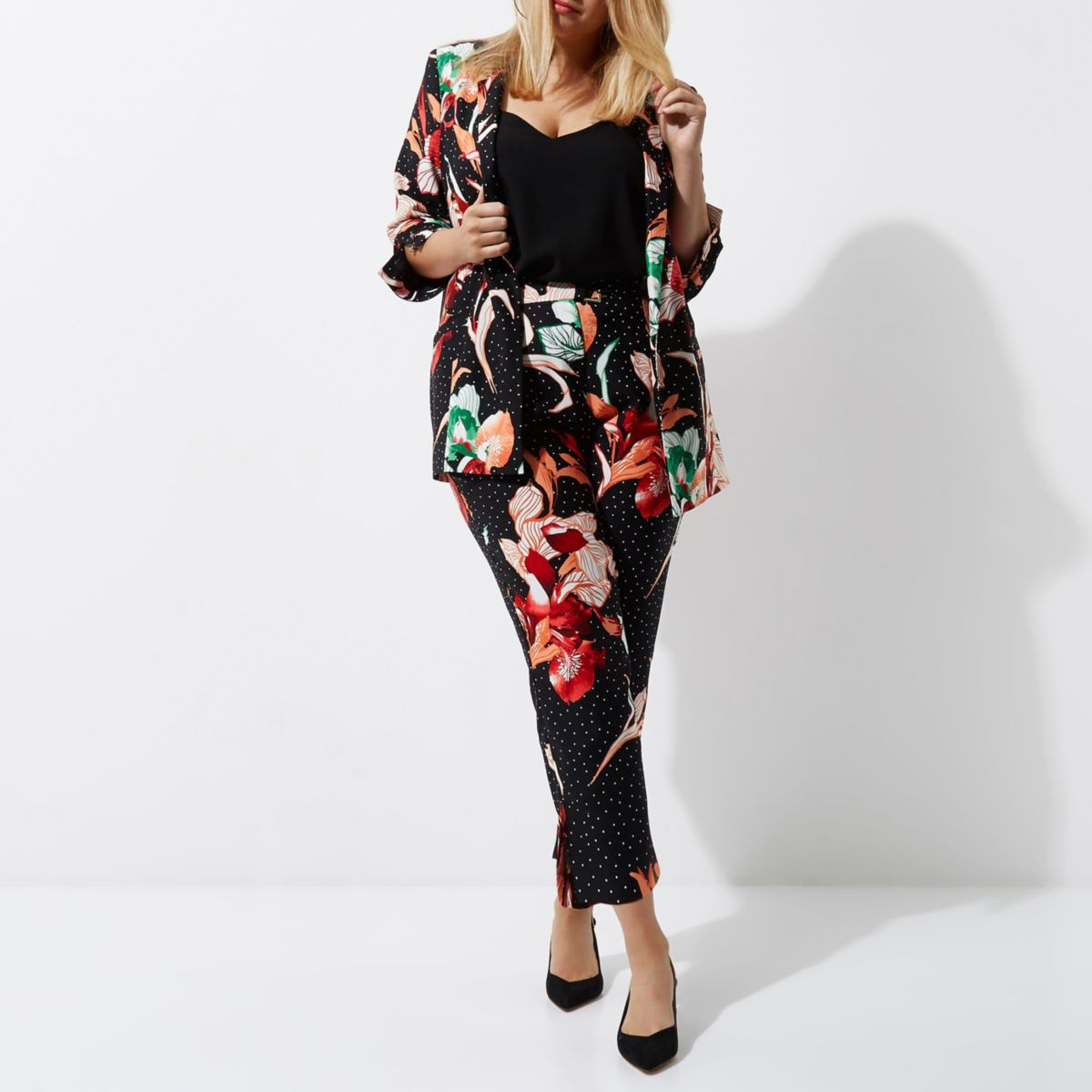Plus black floral print tapered leg trousers