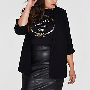 Plus black longline blazer