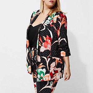 Plus black floral spot longline blazer
