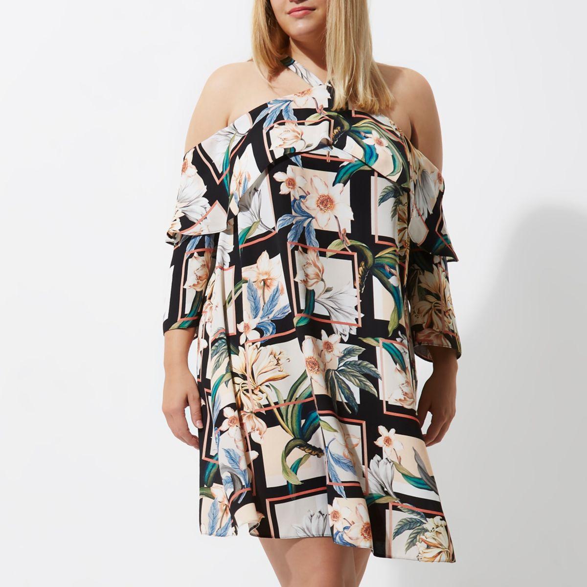 Plus black floral grid cold shoulder dress