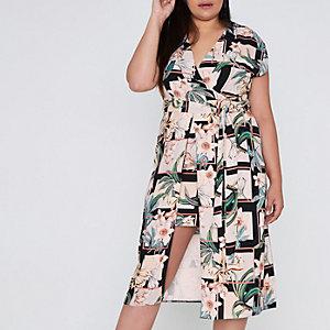 Plus black floral grid wrap midi dress