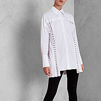 White RI Studio eyelet hook and eye shirt