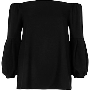 Black bardot long puff sleeve top