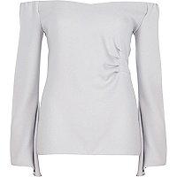 Grey bardot long flared sleeve ruched top