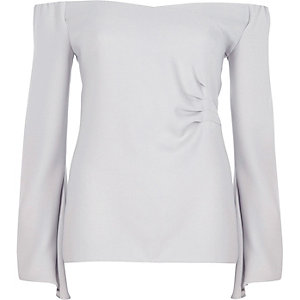 Grey bardot long flared sleeve ruched top