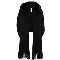 Black faux fur trim hood scarf