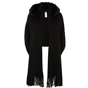 Black faux fur trim hood scarf