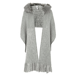Grey fur trim hooded scarf