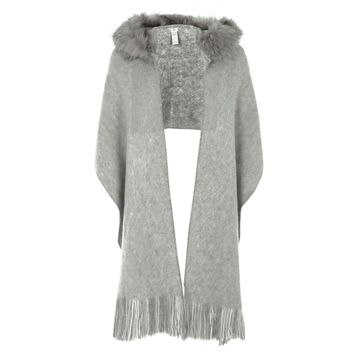 Grey faux fur trim hooded scarf