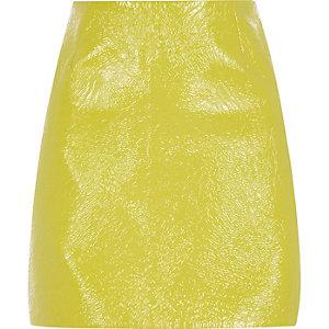 Lime crinkle vinyl mini skirt