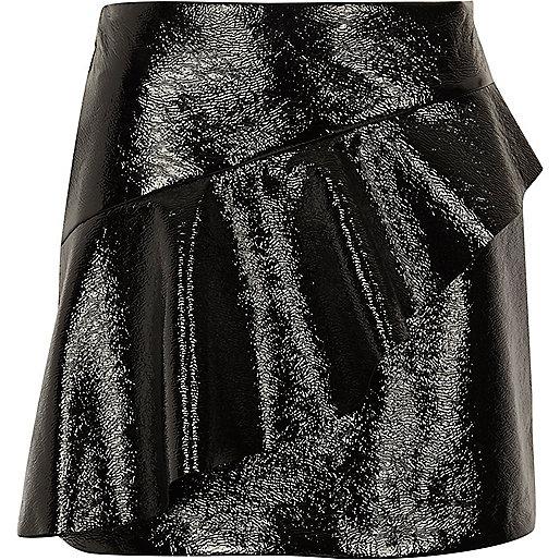 Black vinyl frill front mini skirt