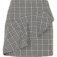 Black check frill mini skirt