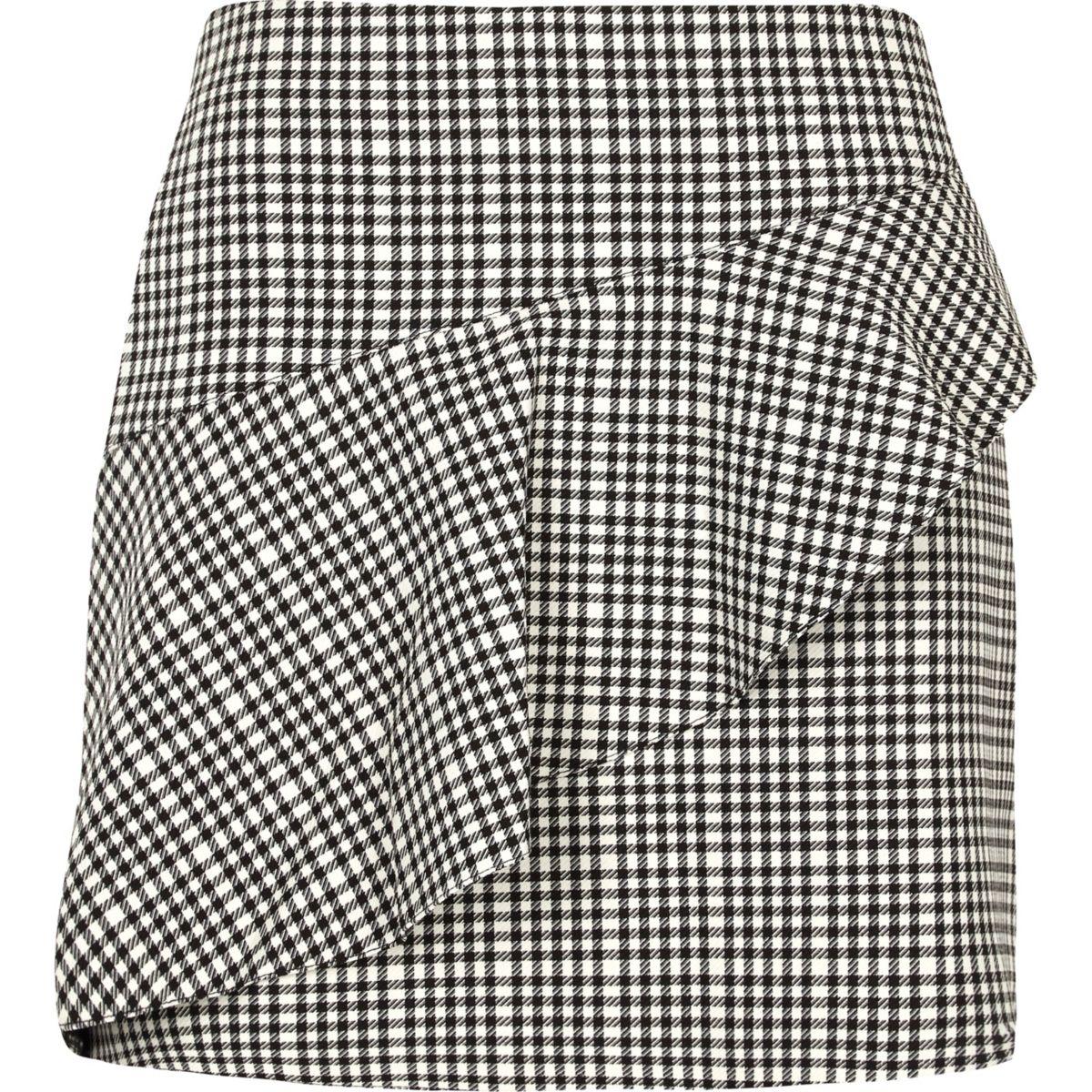 Black check frill mini skirt