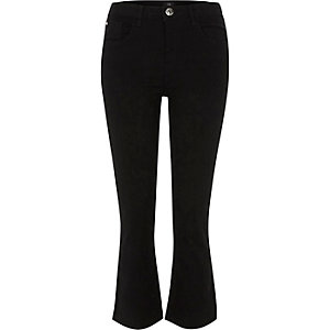 Black cropped flared jeans