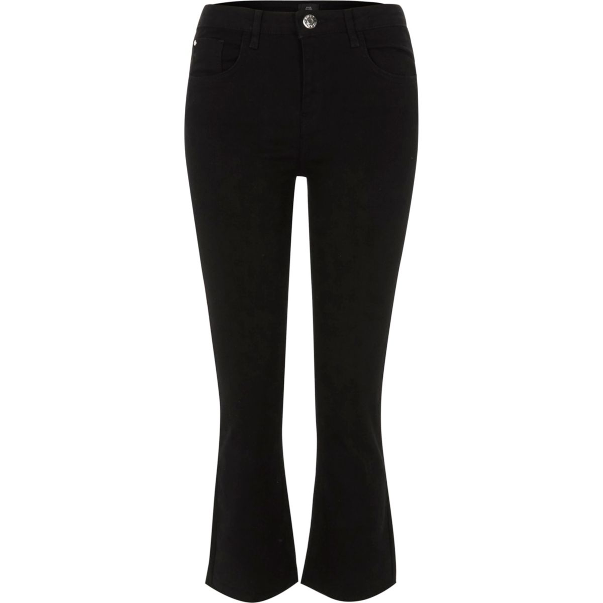 Zwarte cropped wijduitlopende jeans