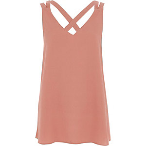 Pink double strap cross back vest