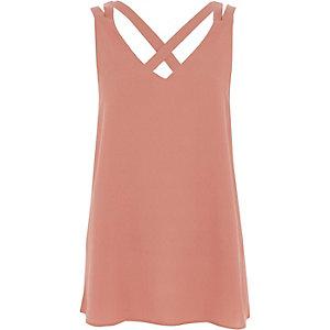 Pink double strap cross back vest
