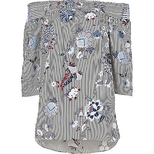 Black stripe floral print shirred bardot top