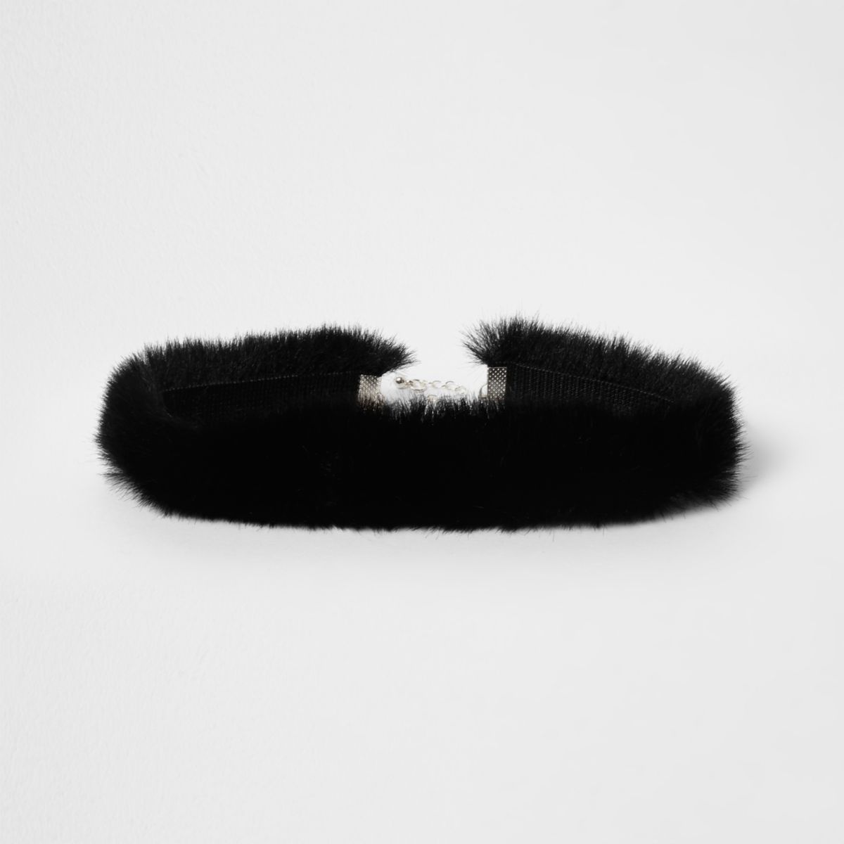 Black faux fur choker