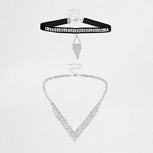 Silver tone diamante velvet choker set