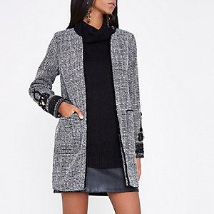 Zwarte tweed jas met geborduurde manchetten