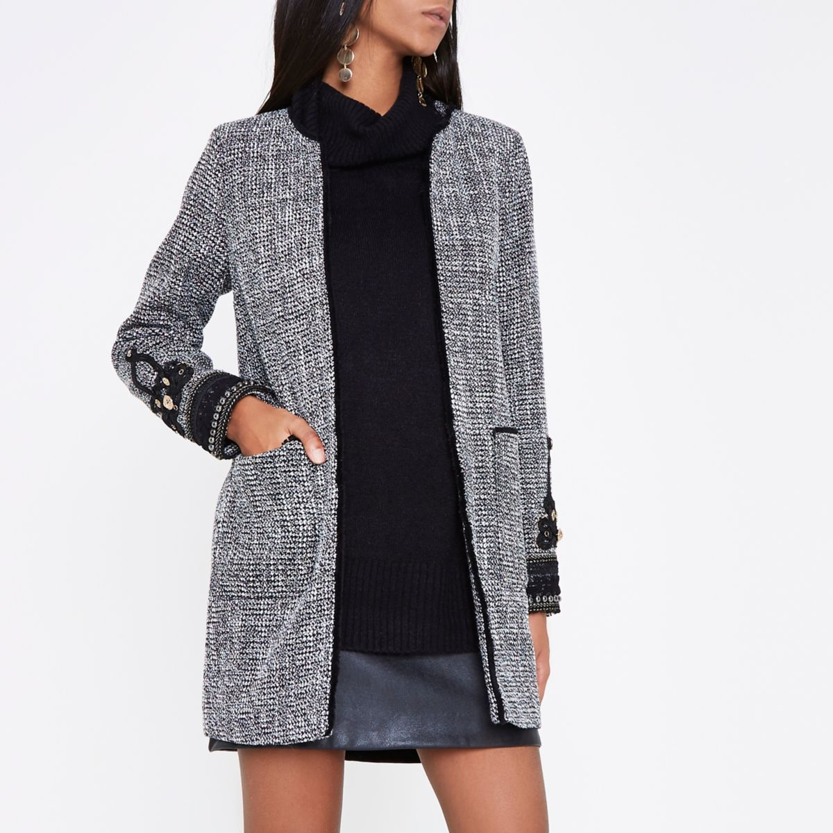 Black tweed embroidered cuff coat