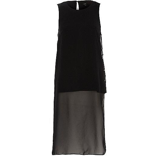 Black high low hem mesh back tunic top