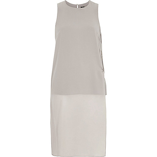 Grey ring side longline sleeveless top