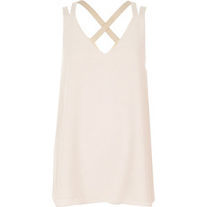 Light beige cross back double strap cami top