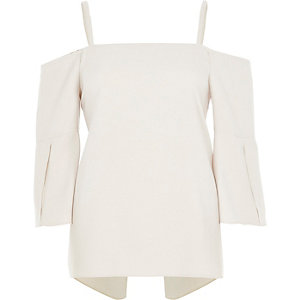 Light beige split sleeve bardot top