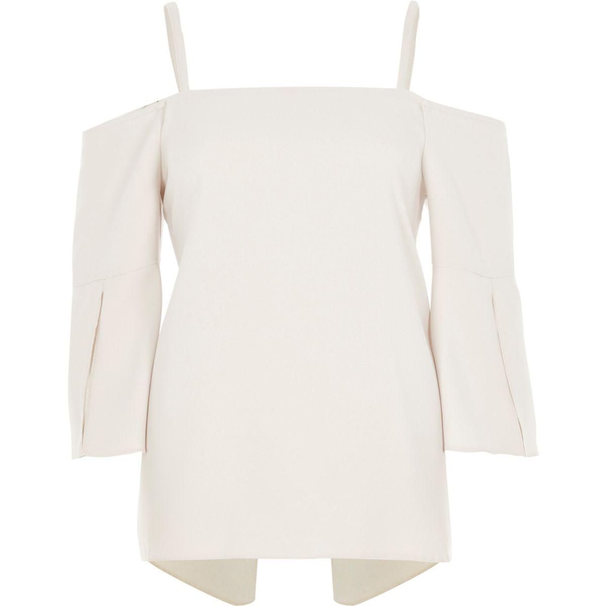 Light beige split sleeve bardot top
