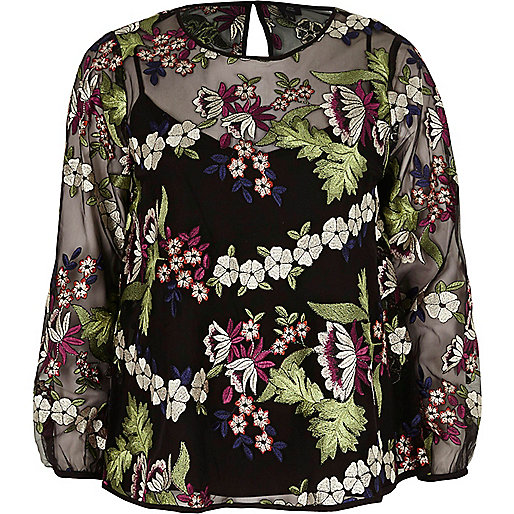 Black floral embroidered mesh long sleeve top