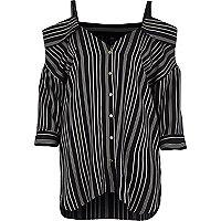Navy stripe deconstructed cold shoulder shirt